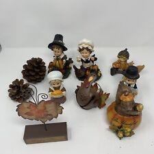 10pc Fall Tabletop Figurines w/ Pilgrim Turkey Thanksgiving Decor Metal & Resin