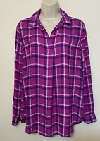 Banana Republic Small Blouse Purple Plaid Long Sleeve Button Back Tunic Top