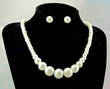 Cream Graduated Glass Pearl necklace With Matching Stud earrings set