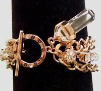 "NEW GUESS Rhinestone Gold Chain Designer Bracelet 7.5"" Orig $40"