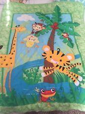 Fisher Price Baby Blanket Green Jungle Animals Rainforest Quilt Frog Bird Tiger
