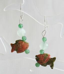 Elegant  Carved Unakite & Jade Fish Earrings by Judy Strobel