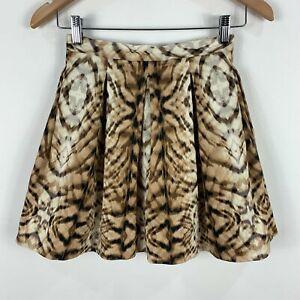 Bardot Womens Skirt Size 6 Brown Leopard Print A-Line Zip Closure 34.33