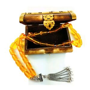 Tasbih komboloi worry beads amber sterling silver 925 guarantee JCE27 77