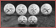 "Saddle Set >> 4 - 1 1/2"" & 2 - 1"" Hand Engraved Silver Conchos with Stars"