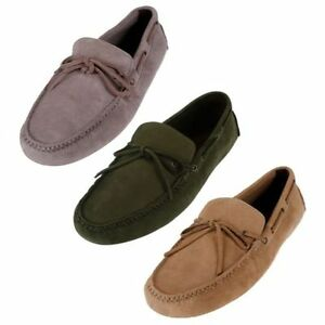 Cole Haan Men's Air Grant Driver suede Shoes Loafers - Milkshake,Gray Colors