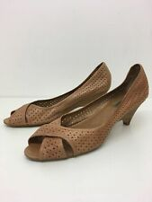WOMENS DUNE BROWN CUT OUT LEATHER LOW WEDGE HEEL SANDALS UK 8 EU 41