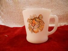 """Fire King  White Milk Glass Esso """"Tiger in your Tank"""" Mug"""