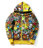 Cartoon Baby MILO Monkey Bape A Bathing Ape Full Zip Hoodie Sweatshirt Jacket
