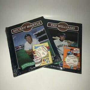 Vintage Baseball Legends Mickey Mantle & Ted Williams Seal Book + DonRuss Card
