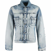 WRANGLER Men's Retro WILD WASH Blue Distressed Denim Jacket, size MEDIUM