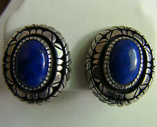 Vintage Lapis Lazuli Sterling Silver Navajo Handmade Signed Earrings