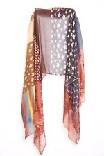 Navy Subtle Colored Abstract Multi Pattern Stars/striped Statement Scarf (S10)
