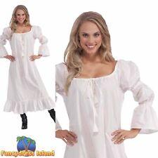 MEDIEVAL CHEMISE NIGHT DRESS - Size 10-14 - womens ladies fancy dress costume