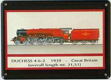 Mini-Blechschild Dampflok - Duchess 1939, 11 x 8 cm