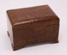 Antique Vtg Footed Burl Burlwood Wood Jewelry Trinket Hinge Casket Velvet Lined