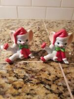 Vintage Christmas Mouse White Bisque Porcelain Figurines Lot of 2