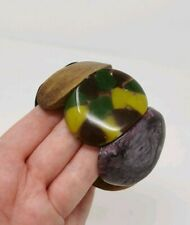 Costume Resin Chunky Stretch Bracelet Green Wood Purple Iris Apfel Style Bangle