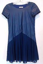 SUPERTRASH BOUTIQUE BLUE SHORT SLEEVE FAUX SNAKE SKIN PLEATED DRESS 152 11/12