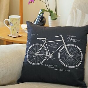 Cool Retro Bicycle Bike Throw Pillow Cushion Cover Vintage Cycle Design 45x45cm