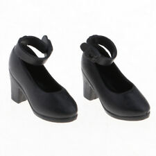 Pair of Plastic Doll High Heel Shoes 1/6 BJD Dolls for Blythe Shoes Black