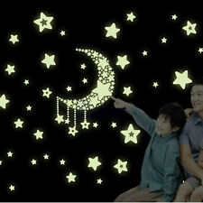 A Moon&Stars Glow In The Dark Vinyl Wall Home Stickers For Baby Kid Nursery Room