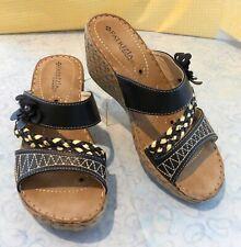 Patrizia by Spring Step Meeko Women's Wedge Sandal Beige or Black Size 6.5 EU37