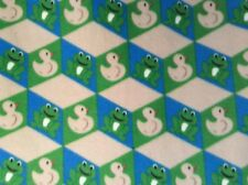 """POLAR FLEECE FABRIC PRINTED FROG DUCK animal, 60"""" wide, sold By the yard"""