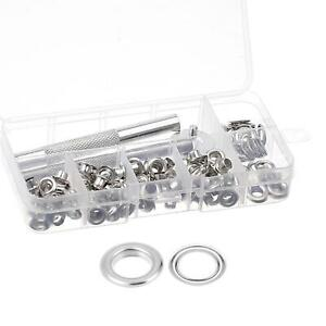 Grommet Kit 100 Sets Copper Eyelets with 3 Tools, 5mm Inside Dia. Silver Tone