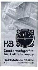 Aviatik Hartmann & Braun FFM. strumenti DI MISURA SPECIALE AVIAZIONE Histor. la pubblicità 1938