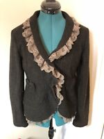 Habitat Purple Clover Boiled Wool Chocolate Brown Lace Jacket.Size L.NWOT.
