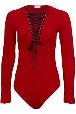 Ladies Long Sleeve Adjustable Lace Up Front Plunge Textured Bodysuit Leotard