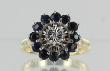 9ct Yellow and White Gold Sapphire and Diamond Cluster Ring Hallmarked REF2536