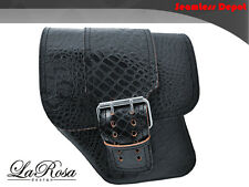 LaRosa HD Street Bob Left Saddlebag - Black Alligator Emboss Leather Big Strap