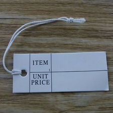 100PCS White Paper Hanging Price Tags Label Elastic String Handmade Findings