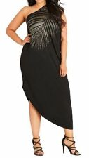 CITY CHIC M 18 NWT RRP $99.95 MAXI SHOULDER DRAPE GOLD SHIMMER PALM