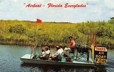 TIGER'S AIR BOAT RIDES Florida Everglades Tiger Indian Village ca 1960s Postcard