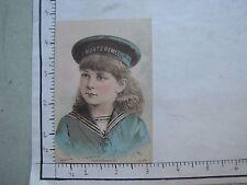 HUNTS REMEDY CO COPYRIGHTED 1883 GIRL SAILOR SUIT BENJ NAGLE  KIDNEY MED 958a