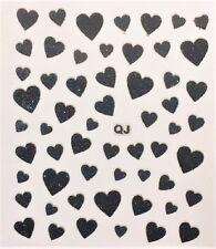 Accessoire ongles: nail art - Stickers autocollants - motifs coeurs noirs