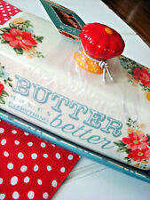 NEW Pioneer Woman Better Butter Dish Vintage Floral NEW 2017 Stoneware Red Knob