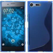 Silikon Hülle für Sony Xperia XZ Premium blau S-Style + 2 Schutzfolien