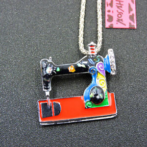 Colorful Enamel Crystal Sewing Mmachine Betsey Johnson Pendant Necklace/Brooch