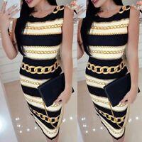 Women's Sexy Slim Round Neck Print Midi Dress Lady Sleeveless Bodycon Dress