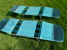 2-Vintage Folding Tube Aqua & Clear Pool Chaise Lounge/Lawn Chairs