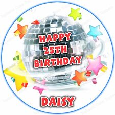 Personalised Disco Ball Edible Icing Birthday 70s 80s 90s Party Cake Topper