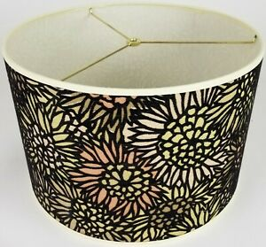 "NEW Drum Lamp Shade 15"" Dia 10"" H Contemporary Flocked Mosaic Green Fabric"