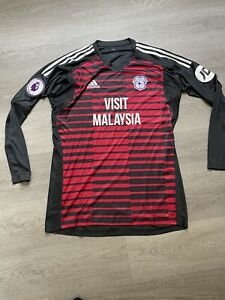 Cardiff City FC Adidas Mens Player Issue Red / Black Goalkeeper Shirt Size Large