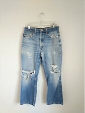 47027885 VTG LEVIS 517 USA Made Distressed Jeans Ripped Holes Measure w 32
