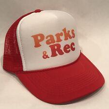 Parks & Recreation Trucker Hat Vintage Logo Snapback Retro Rec Cap Ron Swanson