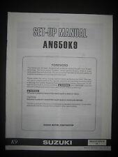 SUZUKI AN650K9 Set Up Manual AN 650 K9 Set-Up 99505-01169-01E Motorcycle